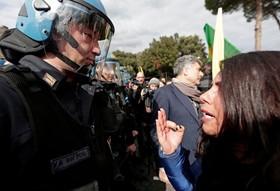 تظاهرات علیه سفر رجب طیب اردوغان به ایتالیا در رم