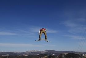 تمرین اسکی در بازی های المپیک زمستانی در پیونگ چانگ در کره جنوبی