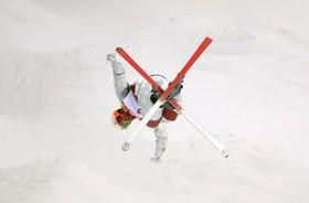 تمرین اسکی در جریان بازی های المپیک زمستانی کره جنوبی