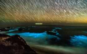 منظره ای در شب و بارش ستاره