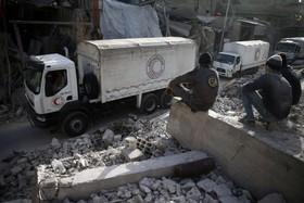 بخشی از دمشق در سوریه که در جنگ تخریب شده است
