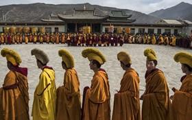 طلبه های معبد بودایی کلاه زرد در تبت در صف دعا