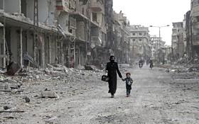 منطقه ای جنگ زده در دمشق سوریه