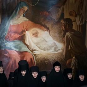 مراسم مذهبی زنان روحانی مسیحیان ارتودوکس روسیه در مسکو