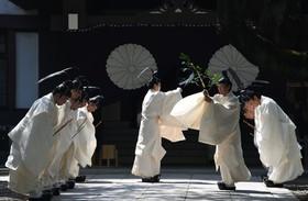 آیین مذهبی بوائیان شینتو در معبدی در توکیو ژاپن