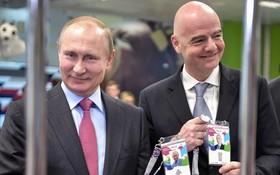 ولادیمیرپوتین و جیوانی اینفانتینی رئیس فیفا در شوشی با کارت های شناسایی بازی های جام جهانی فوتبال