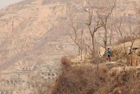 روستایی در چین که زنی در حال استفاده از تلفن همراه خود است