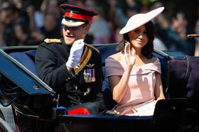 شاهزاده هری و مگان مارکل در مراسم تولد رسمی ملکه بریتانیا