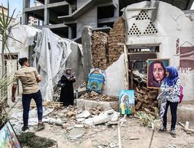 آثار هنری هنرمندان فلسطینی در ویرانه های حملات نیروهای اسرائیلی به غز