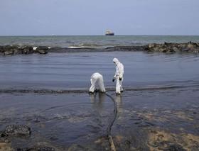 تلاش برای تمیز کردن ساحل پس از نشت نفت؛ سریلانکا