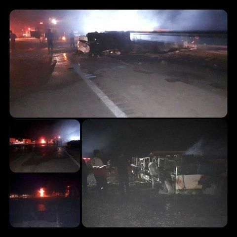 ۲۱ کشته در حادثه تلخ تصادف اتوبوس تهران - کرمان