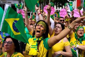 تظاهرات حامیان نامزد راستگری انتخابات ریاست جمهوری برزیل در شهر سائوپائولو