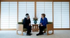 دیدار صدراعظم آلمان و امپراتور ژاپن در کاخ امپراتوری ژاپن در توکیو