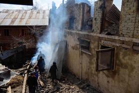 خانهای آسیب دیده از درگیری نظامی در کشمیر
