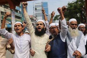تظاهرات پس از نماز جمعه شهر داکا بنگلادش در محکومیت حمله تروریستی به مساجد در نیوزیلند