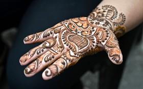 (تصاویر) دست نقاشی شده یک زن مسلمان کشمیری با حنا به مناسبت عید فطر در بازاری در سرینگر