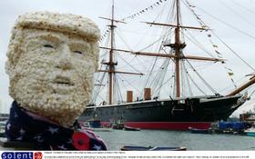(تصاویر)  چهره دونالد ترامپ ساخته شده از ذرت بوداده در انگلیس