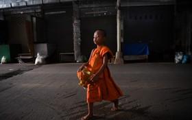 (تصاویر) یک طلبه بودایی در حال جمع آوری کمک در بازاری در مرز تایلند و میانمار