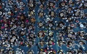(تصاویر) شرکت کنندگان در چشن ماهی خوری در جینگ سوی چین