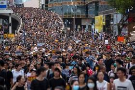 (تصاویر) تظاهرات در هنگ کنگ علیه چین در هنگ کنگ