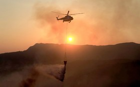 (تصاویر) تلاش آتش نشانان برای خاموش کردن آتش سوزی جنگل در منطقه اویا در یونان
