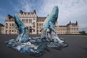 (تصاویر) بوداپست مرکز مجارستان در مقابل ساختمان پارلمان نهنگ هایی با پلاستیک برپا شده تا ضرورت نقش پلاستیک در آلودگی محیط زیست را یادآوری کند