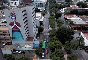 (تصاویر) نمایی از نقاشی دیواری در گوادالاجارا در مکزیک که نقاش شهری ایرلندی فین دک از نقاش معروف مکزیکی فریداکالو کشیده است