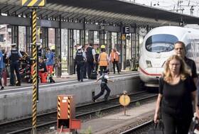 (تصاویر) صحنه جرمی در فرانکفورت که فردی نوجوان و مادرش را به درون ریل هل داده است