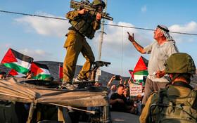 (تصاویر) تظاهرات فلسطینی ها علیه مانور نظامی نیروهای اشغالگر در روستای ناغوره در کرانه غربی رود اردن
