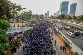 (تصاویر) تظاهرات دانشجویان در جاکارتا مرکز اندونزی
