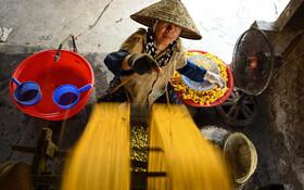 (تصاویر) تولید نخ ابریشم از پیله های کرم ابریشم در ویتنام