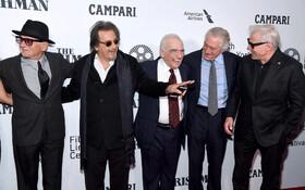 (تصاویر) شرکت جوپشی الپاچینو رابرت دونیرو بازیگران و مارتین اسکورسیزی کارگردان فیلم مرد ایرلندی در مراسم نمایش فیلم در جشنواره نیویورک