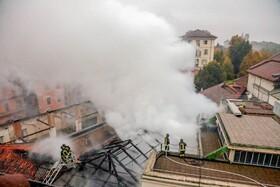 (تصاویر) آتش سوزی در یک مرکز تاریخی در تورین ایتالیا