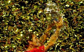 (تصاویر) پیروزی راجرفدرر سوئیسی در بازی های تنیس اوپن سوئیس در مقابل بازیکن استرالیایی آلکس مینار