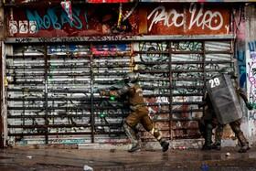 (تصاویر) صحنه ای از تظاهرات در سانتیاگوی شیلی