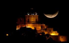 (تصاویر) ماه در آسمان شهر مدینه در مالتا برفراز کلیسای سنت پل