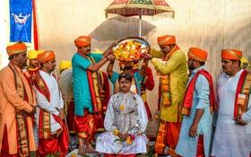 (تصاویر) مراسم مذهبی هندوها در راجکوت هند
