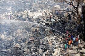 (تصاویر) آتش سوزی در زاغه نشینی در داکای بنگلادش