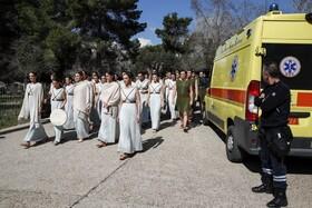 (تصاویر) مراسم روشن کردن مشعل المپیک در المپیا در یونان در غیاب تماشاگران همیشگی