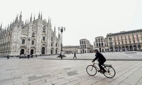 (تصاویر) خلوتی میدانی تاریخی در میلان ایتالیا در پی شیوع کرنا در این کشور