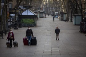 (تصاویر) تعطیلی و خلوتی خیابان ها در بارسلونای اسپانیا