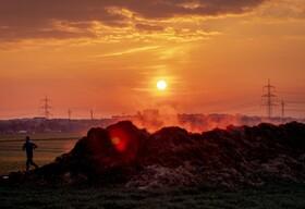 (تصاویر) طلوع آفتاب در فرانکفورت آلمان