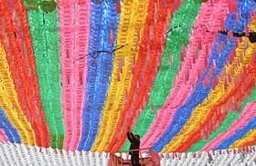 (تصاویر)در معبدی در سئول در کره جنوبی فردی کارت نام افراد را به فانوس های آرزو های سالروز تولد بودا در این معبد متصل می کند