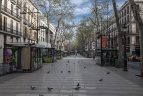 (تصاویر) بارسلونا در اسپانیا خیابانی که تنها کبوترهای در آن قدم می زنند