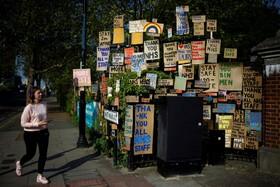 (تصاویر) پیام های تشکر مردم از کارکنان نظام بهداشتی انگلیس در لندن