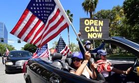 (تصاویر) تظاهرات برای بازگشایی شهر در لوس آنجلیس