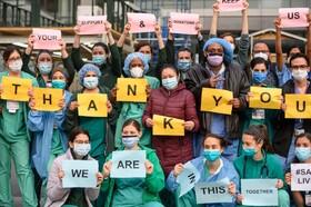 (تصاویر) تشکر از کادر درمانی در نیویورک آمریکا
