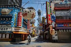 (تصاویر) خلوتی خیابان ها در اوزاکای ژاپن به دلیل قرنطینه ناشی از کرونا