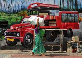 (تصاویر) زنی با کاهش مقررات قرنطیننه در هند در خیابان بار می برد