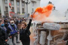 (تصاویر) تظاهرات علیه خشونت پلیس در کیف اکراین